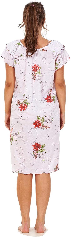 Apparel Ladies Short Nightdress 100/% Cotton Cap Sleeve Nightwear Peony Floral M to XXXL