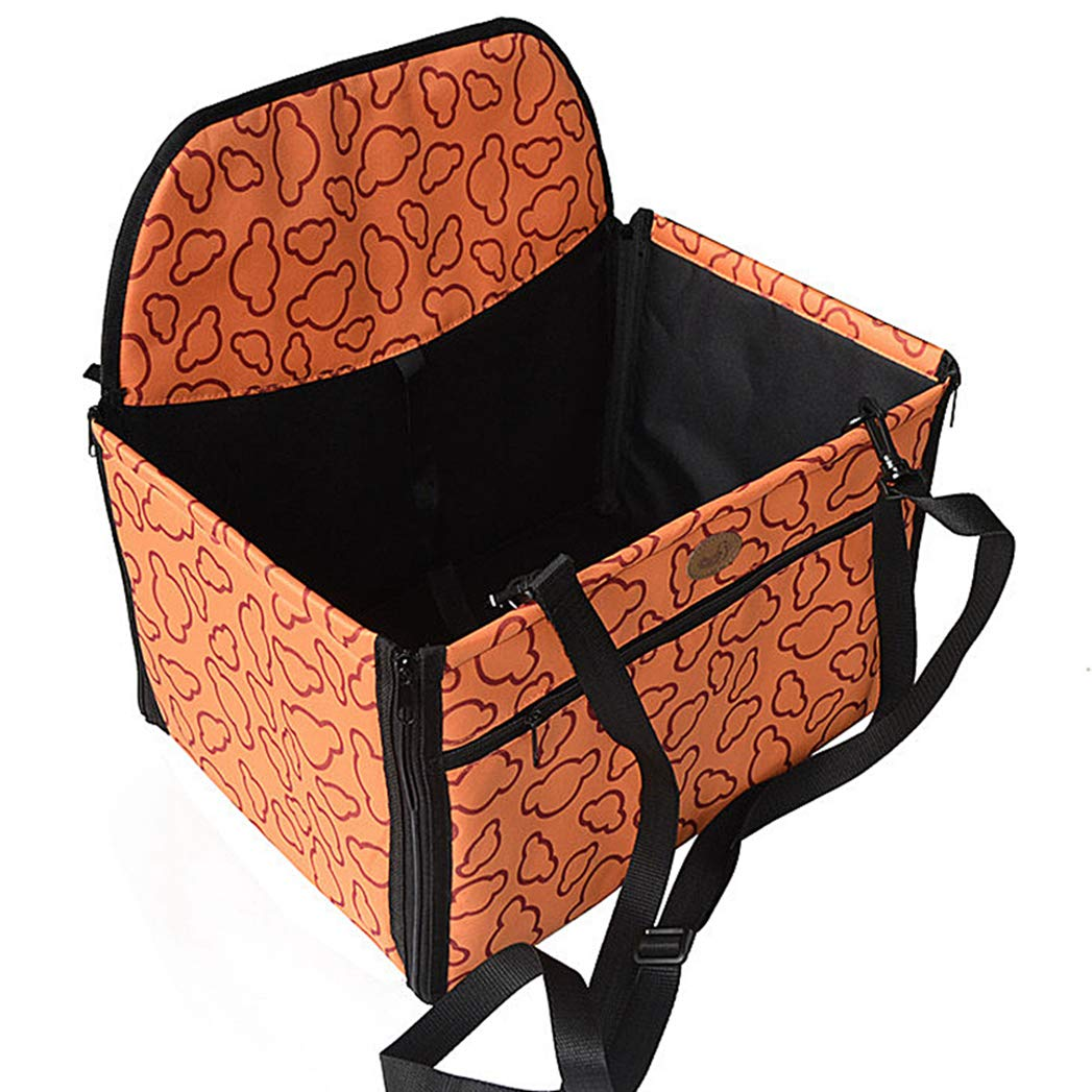 orange Pet Dog Car Booster Seat Cover,Breathable Travel Dog Seat Covers Cars Safety Pet Seat