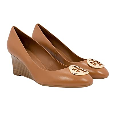 Tory Burch Alice Wedge Leather 65mm TB Logo (9.5 Royal Tan)