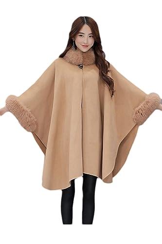 La Mujer Elegante Warm Faux Fur Forrado De Lana Capa Chal Outercoats Trenchcoat