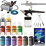 Complete Master Airbrush Cake Decorating Set - with 12 Chefmaster Airbrush Cake Color Set .7 fl oz that is FDA approved and a (FREE) How to Airbrush Instructional Guidebook
