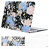 Mosiso Plastic Pattern Hard Case Shell with Keyboard Cover with Screen Protector for MacBook Air 13 Inch (Model: A1369 and A1466), Blue & Pink Drawing Flower