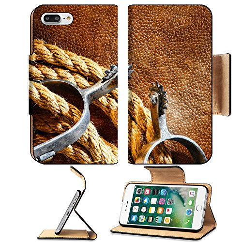 - MSD Premium Apple iPhone 7 Plus Flip Pu Leather Wallet Case IMAGE ID: 11347200 American West rodeo cowboy ranching rope with western riding spurs on old brown leather grunge background