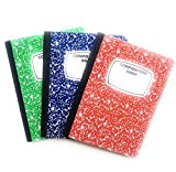 Composition Hardcover Notebooks Multi-Color Wide Ruled 100 Sheets (Set of 3)