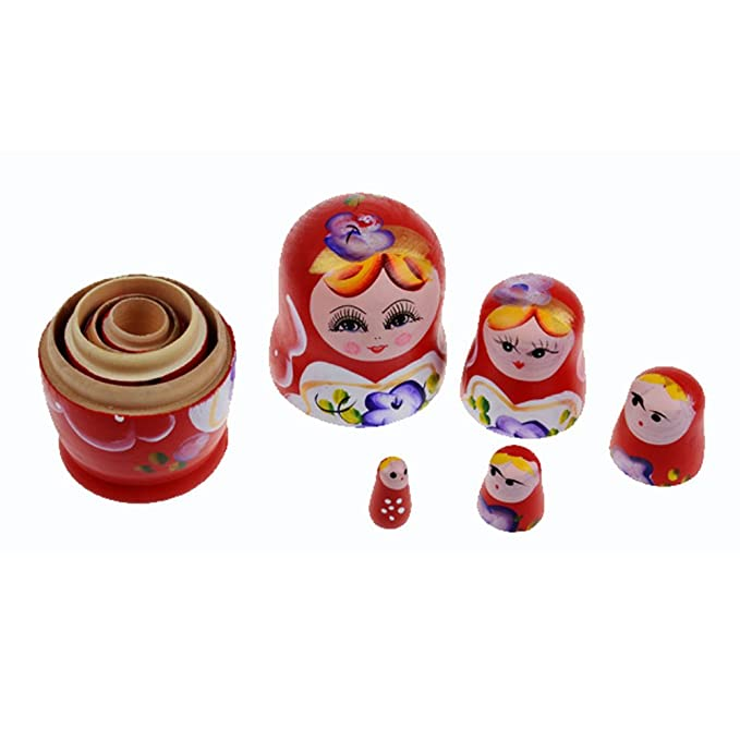 Fenteer Wooden Russian Nesting Doll Babushka Matryoshka Stacking Dolls Set 5 Pieces Lovely Owl Family Xmas Birthday Gift