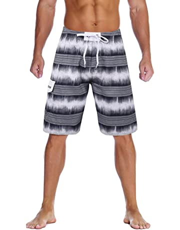 d00aa0fd77 Unitop Men's Swim Trunks Colortful Striped Beach Board Shorts with Lining