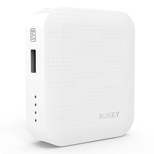 AUKEY Batería Externa 4400mAh, Cargador 5V/1A para iPhone, Smartphone, teléfono celular, MP3, MP4, PSP, GPS, Gopro, Samsung, Android (Blanco)