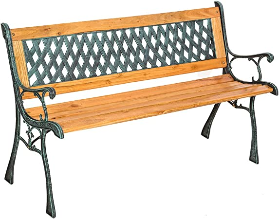 Panchine Da Giardino In Ghisa E Legno.Tectake Panchina In Ghisa E Legno Panca Da Giardino Con Schienale