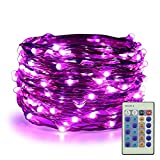 ER CHEN Dimmable LED String Lights Plug In, 33ft 100 LED Waterproof Purple Fairy Lights with Remote, Indoor/Outdoor Copper Wire Christmas Decorative Lights for Bedroom, Patio, Garden, Yard, Party