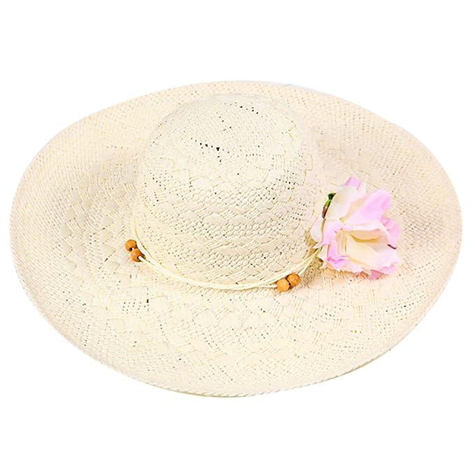 989af7a9 LOCOMO Women Flower Sun Shade Wide Brim Floppy Straw Hat Beige FFH047BEI