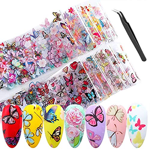 4 Sheets Large Size Butterfly Nail stickers Butterfly nail stickers Acrylic Paillettes Nail Sticker for Nail Art Decoration