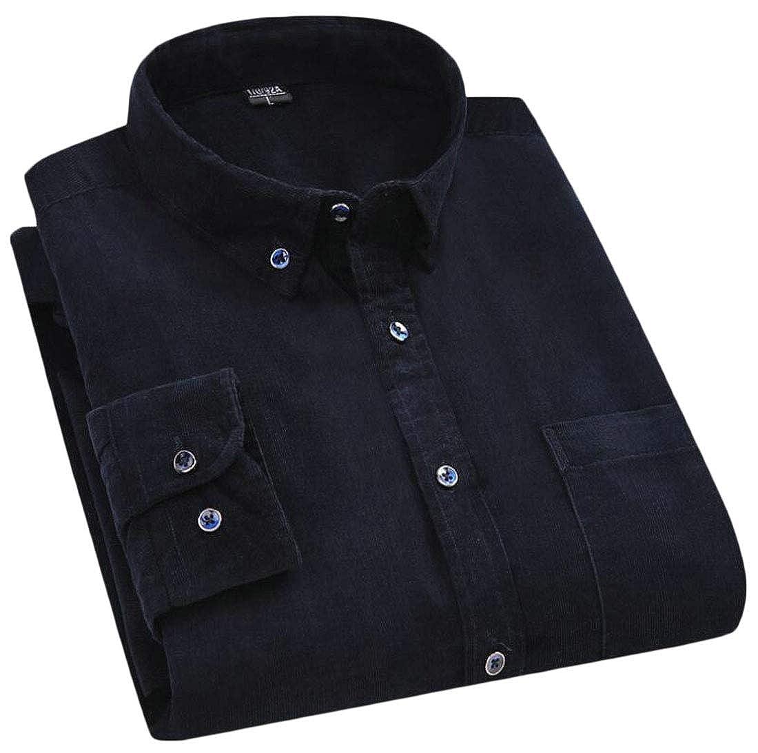 GAGA Mens Corduroy Button Down Collar Slim Fit Long Sleeves Casual Shirt