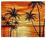 MWA01 Beach Paradise 1 - 20'' X 24'' Hawaii Sunset Beach Palm Trees Modern Aluminum Wall Art Painting Abstract Sculpture Artwork Decor