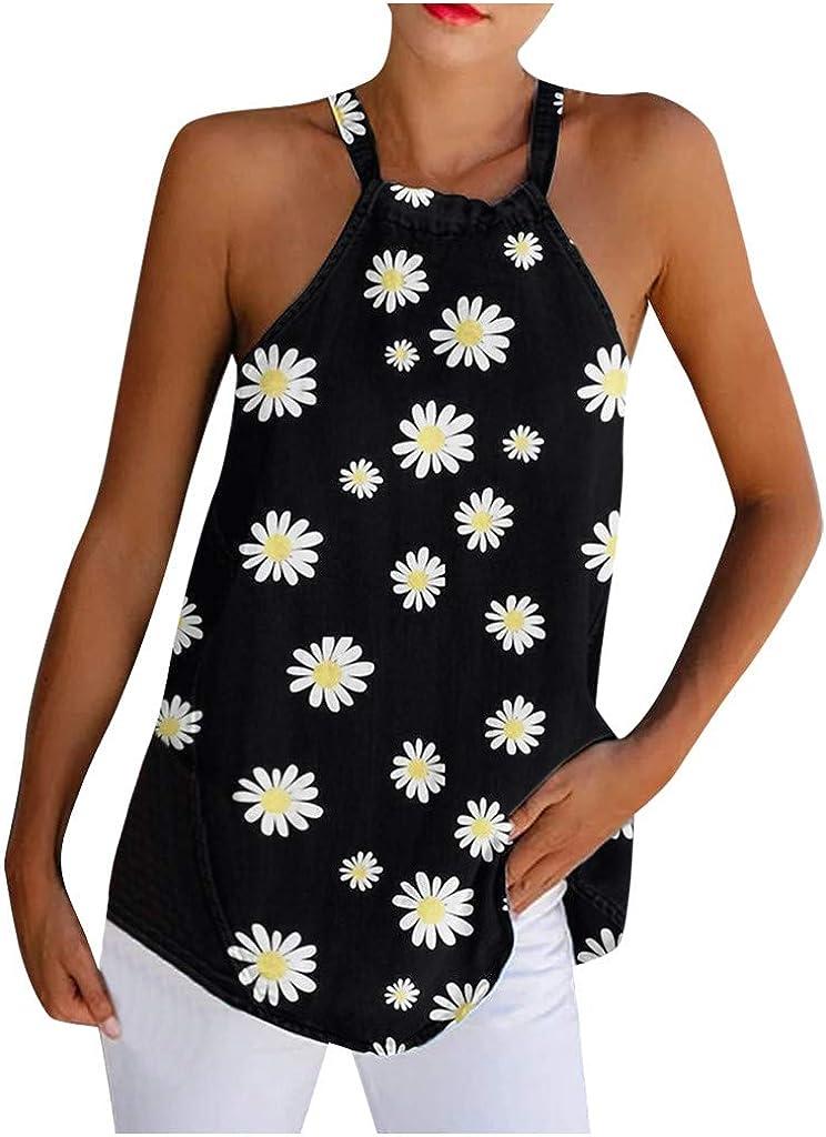 Women Summer Tank Tops Sleeveless Cami Top Ladies Strappy Tops Daisy Print Shirt