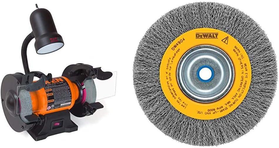 WEN 4276 2.1-Amp 6-Inch Bench Grinder with Flexible Work Light & DEWALT Wire Wheel, Crimped, 6-Inch (DW4904)