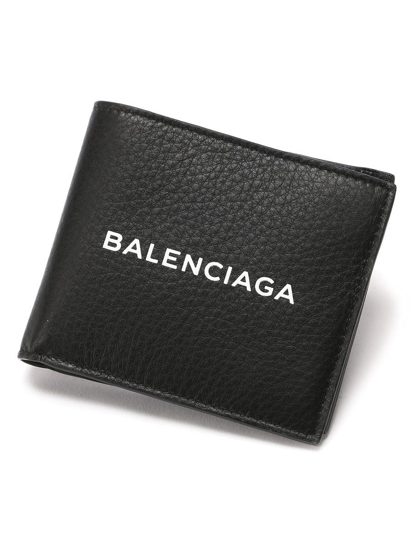 (バレンシアガ) BALENCIAGA レザー ロゴ 二つ折り財布 [BC485108DLQHN] [並行輸入品] B07D76D9MH  ブラック