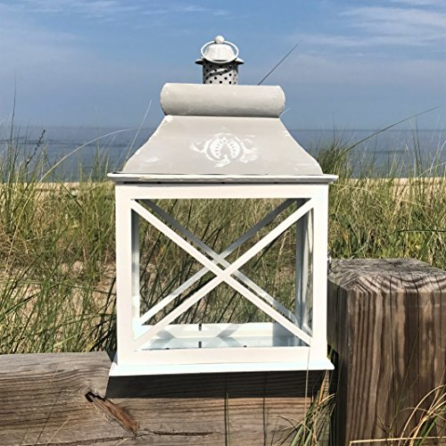 The French Country Style Rustic Lantern, Chateaux Style Roof, Raised Medallion, Gray Distressed Surface, Galvanized Metal Reflective Bottom, Glass, Wooden Cross Post Panels, 19 1/4