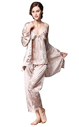 899bf01915 Women s Satin Silk Pyjamas Set Sleepwear Sets Long Sleeve Pyjamas with Belt  Three Piece Set Tank