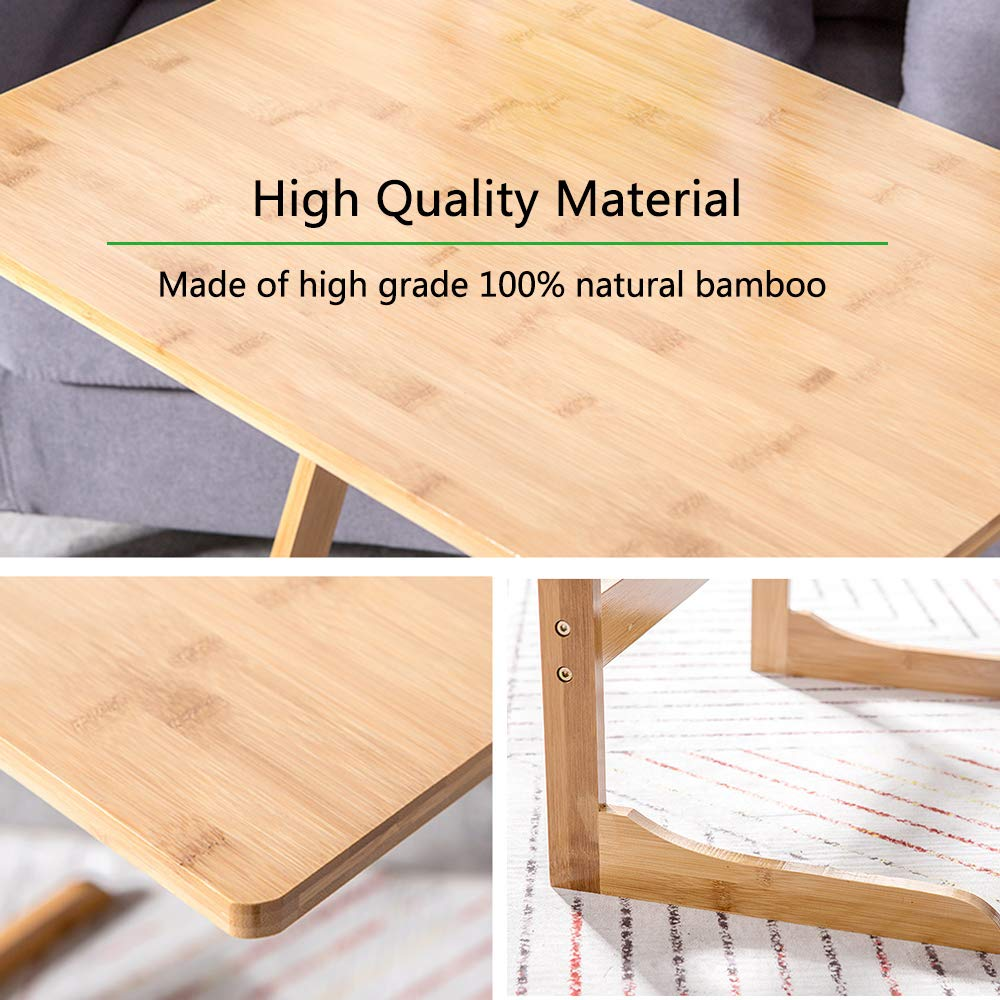 Goujxcy Bamboo Snack Table,Sofa Couch Coffee End Table Bed Side Table Laptop Desk Modern Furniture for Home Office,Coffee