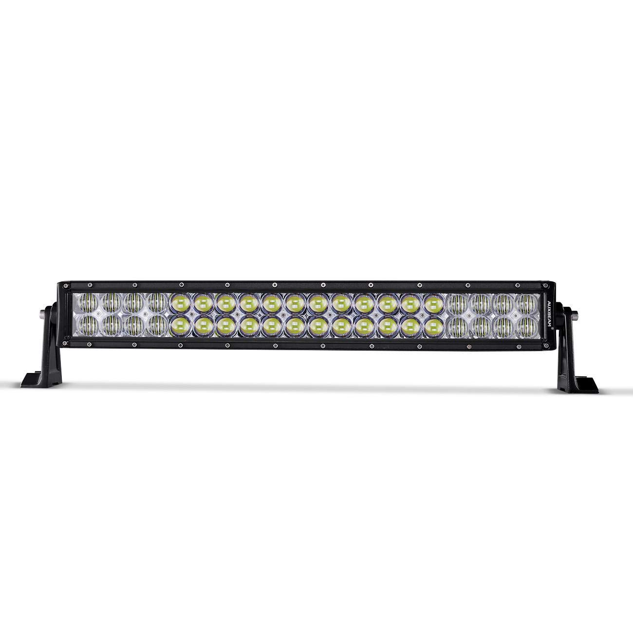 Auxbeam LED Work Light Bar 22inch 120W Curved Double Row 5D Offroad RGB Strobe Light Bar Combo Beam Spot&Flood Color Changing by Bluetooth App Remote Control Mobile Warning Light