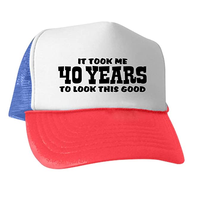 8e27d2154 Amazon.com: CafePress - Funny 40Th Birthday - Trucker Hat, Classic Baseball  Hat, Unique Trucker Cap Black/White: Clothing