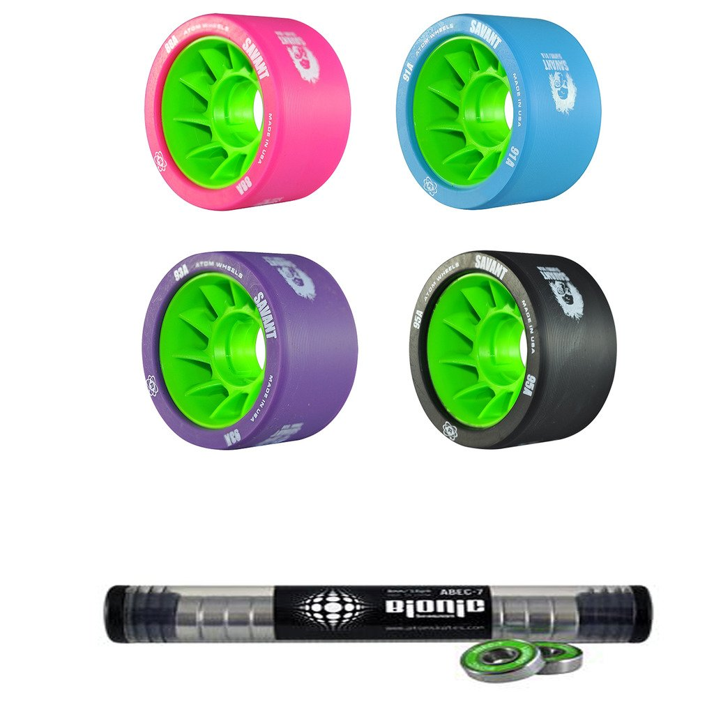 Atom Savant Skate Wheels with Bionic Bearings 8mm Full Set of 8 - Blue 91A
