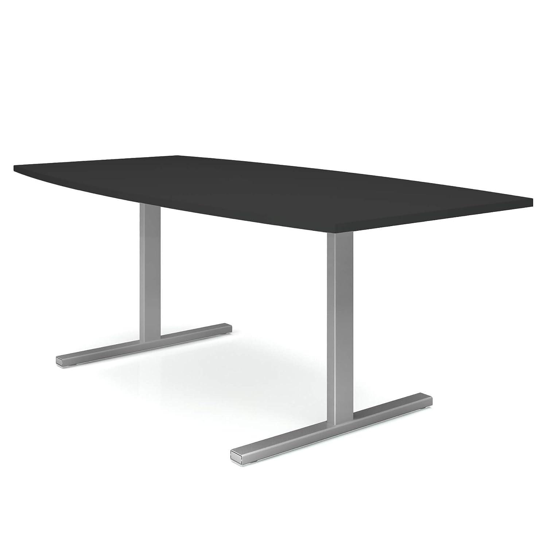 Weber B/üro EASY Konferenztisch Bootsform 180x100 cm Anthrazit Besprechungstisch Tisch Gestellfarbe:Anthrazit