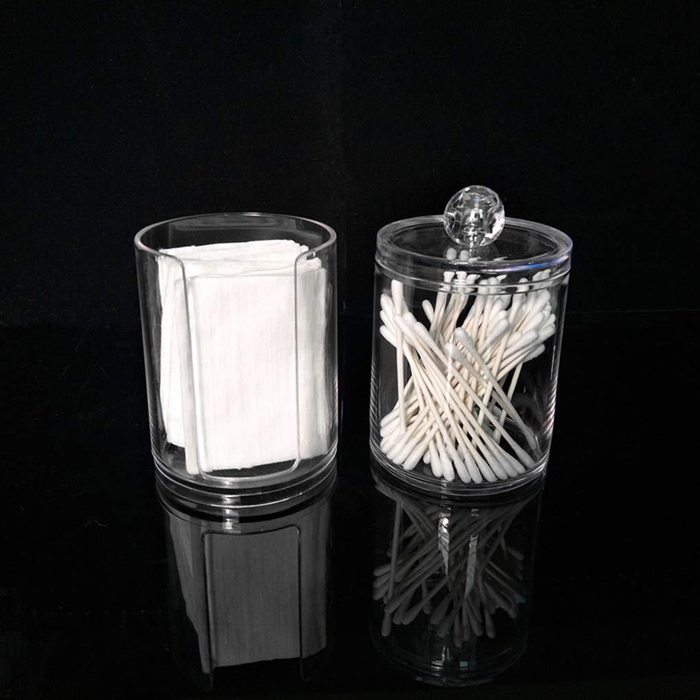 Windy5 Zwei-Schicht Acryl tragbare Runde Wattepad Aufbewahrungsbox Tupfer Container Makeup l/öschen Organizer Transparent kosmetischer Fall