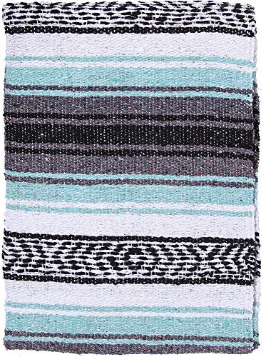 El Paso Designs Genuine Mexican Falsa Blanket - Yoga Studio Blanket, Colorful, Soft Woven Serape Imported from Mexico (Cool Mint & Gray) by El Paso Designs (Image #9)