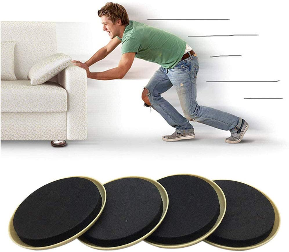 Round Furniture Sliders, 8 pcs Reusable Furniture Moving Pad, Furniture Glider Mover for Quickly and Easily Moving Heavy Furniture on the Floor Carpet Surface