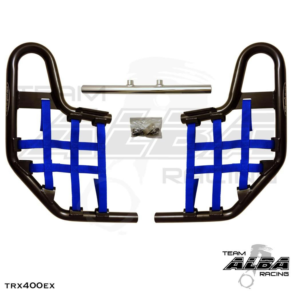 TRX 400EX SPORTRAX (1999-2014) Standard Nerf Bars - Compatible with Honda - Black Bars - Compatible with Honda - w/Blue Net by Alba Racing