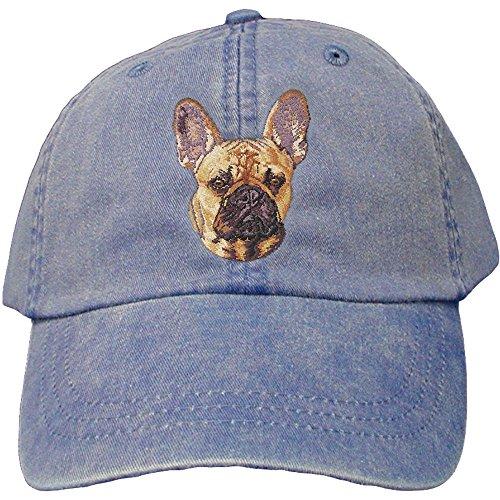 Bulldog Twill Hat - Cherrybrook Dog Breed Embroidered Adams Cotton Twill Caps - Royal Blue - French Bulldog
