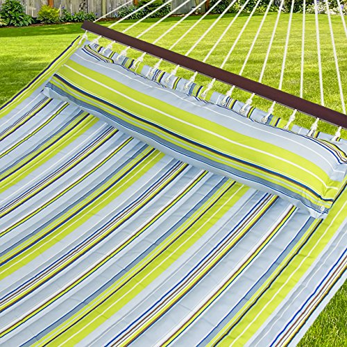 Best Choice Products Quilted Double Hammock w/Detachable Pillow, Spreader Bar- Blue/Green by BEST CHOICE PRODUCTS
