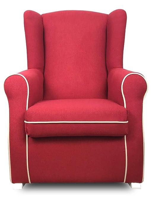 SERMAHOME- Sillón butaca Balancín orejero Modelo Deluxe Lactancia. Tapizado Rojo con Vivos Beige. Medidas: 102 x 75 x 74.