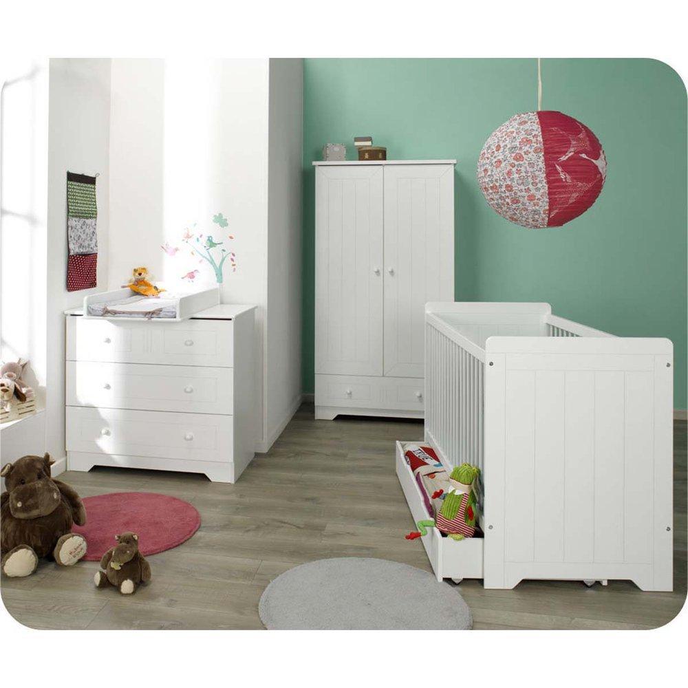 Babyzimmer komplett Oslo weiß mit Wickelfläche