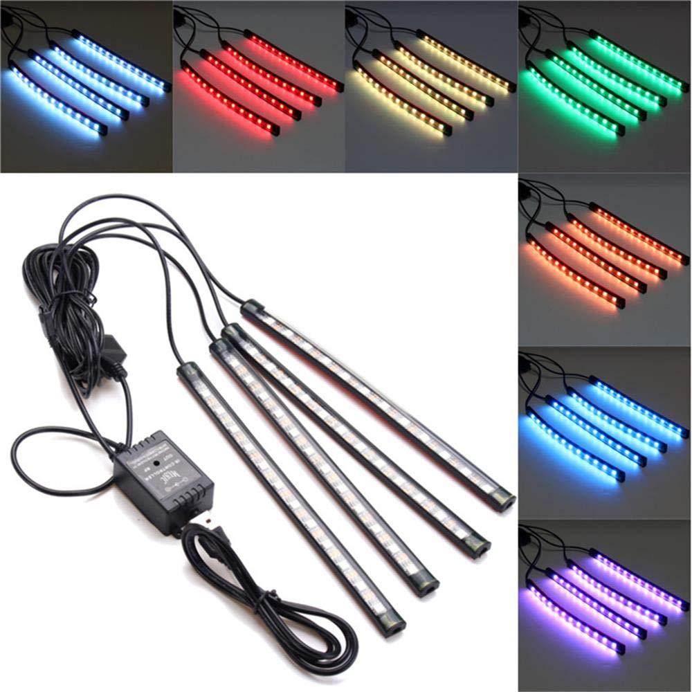 Quaanti 1Set 4pcs 48LED USB Car Interior Music RGB Color LED Strip Light Atmosphere Decorative SMD Neon Lamp (Black)