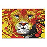excellent abstract wall mural Large Wall Mural Sticker [ Fractal Decor,Abstract Style Lion Portrait Doodle Style Circle Figure Wildlife Leader Image,Red Yellow ] Self-adhesive Vinyl Wallpaper / Removable Modern Decorating Wall Art