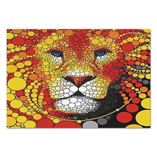 Large Wall Mural Sticker [ Fractal Decor,Abstract Style Lion Portrait Doodle Style Circle Figure Wildlife Leader Image,Red Yellow ] Self-adhesive Vinyl Wallpaper / Removable Modern Decorating Wall Art