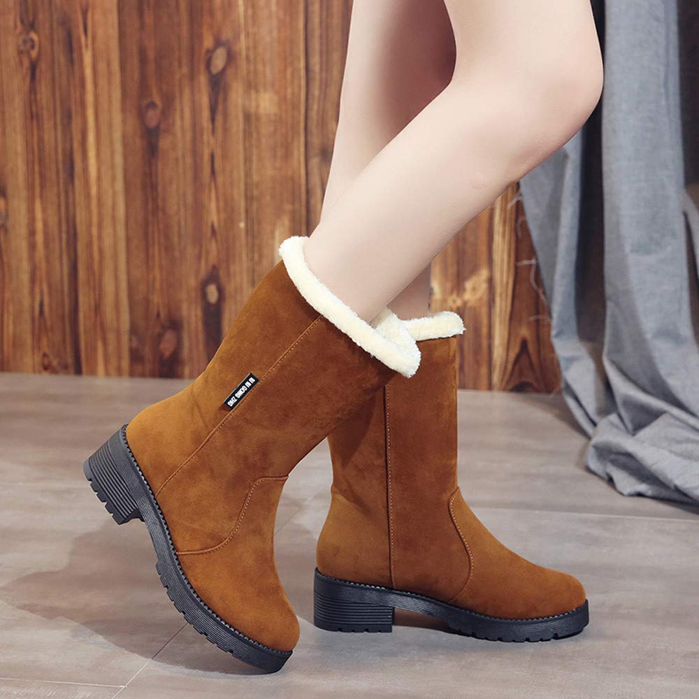 GoodLock Women Fashion Snow Boots Casual Solid Suede Square Heel Middle Tube Boots Slip-On Shoes