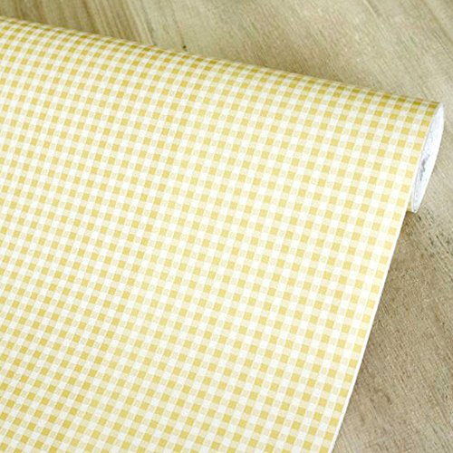 White Plaid Wallpaper (SimpleLife4U Yellow & White Checkered Plaid Contact Paper Self-Adhesive Shelf Liner Base Cabinet Decor 17.7 Inch By 9.8 Feet)