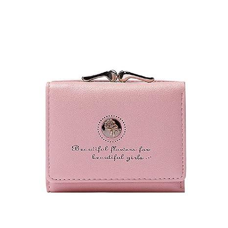 a853aff61c Zhrui Borsellino Donna Con Cerniera Portafoglio Corto Portamonete Pelle PU  Rosa (Colore : Rosa)