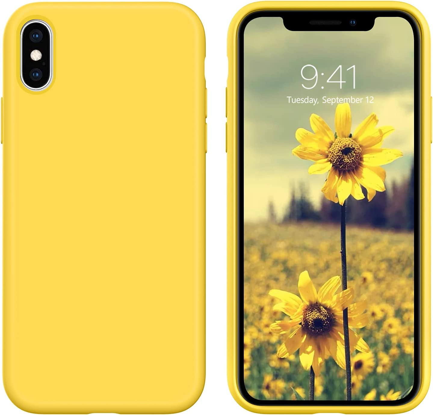 DUEDUE iPhone Xs Max Case, Liquid Silicone Soft Gel Rubber Slim Cover with Microfiber Cloth Lining Cushion Shockproof Full Protective Case for iPhone Xs Max for Women Girls, Yellow