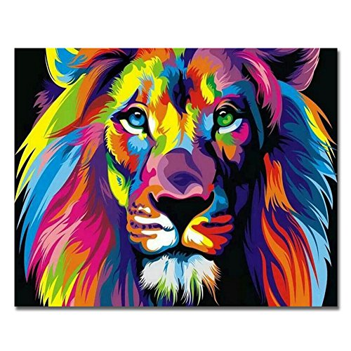 BOSHUN 5D DIY Diamond Painting by Number Kits for Adults, Full Drill Cross Stitch Arts Craft for Home Wall Decor- Colorful Lion(11.8X15.7inch/30X40cm)