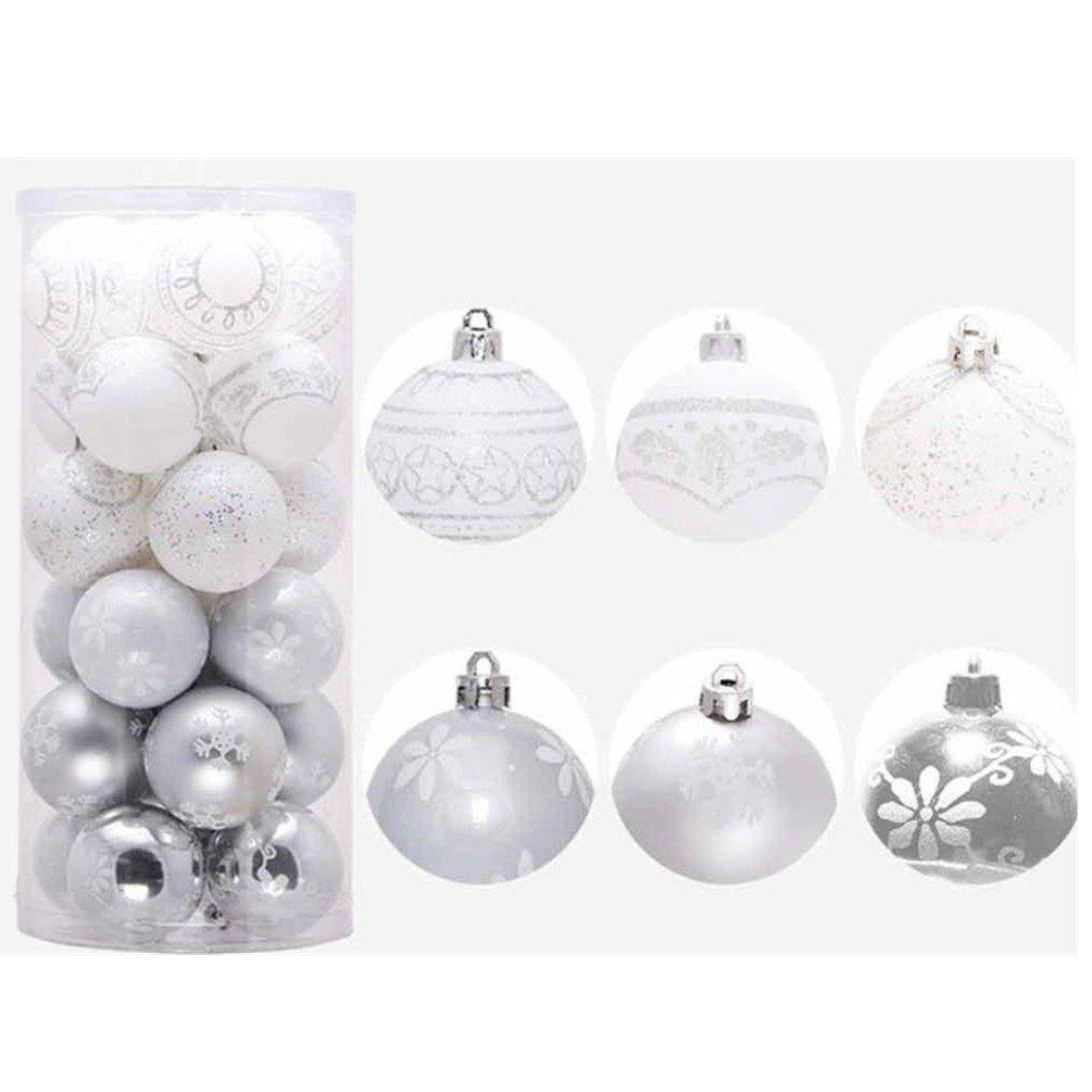 Christmas Bolas de navidad - koly 24 piezas XMAS bolas brillas elegantes adorno decoracion arbol chucherias Bolas de Navidad Decoraciones Adornos Fiesta Boda Ornamento 6cm (6CM, Oro)