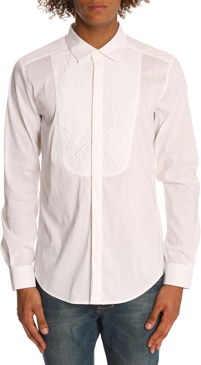 Camisa blanca con babero delantero para los hombres -: Amazon.es: Ropa y accesorios