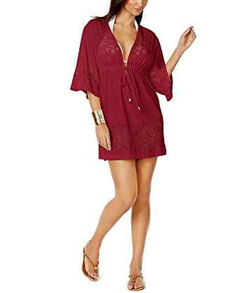 outlet boutique uk cheap sale shop Dotti Women's Crochets Gypsy Dance Tunic Swim Cover Up Wine S