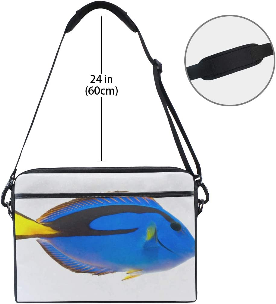Briefcase Messenger Shoulder Bag for Men Women Laptop Bag Blue Tang Marine Coral Fish Isolated 15-15.4 Inch Laptop Case College Students Business P