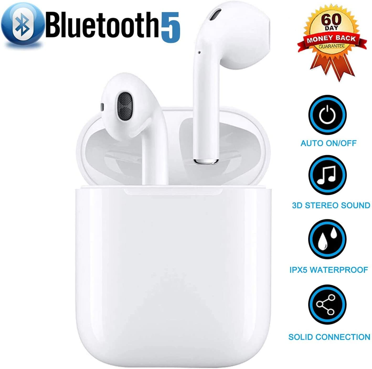 Bluetooth, Auriculares inalámbricos Bluetooth In-Ear Mini Auriculares Auriculares,emparejamiento automático emergente,Deportivos para Apple/Airpods/Android/iPhone/Samsung