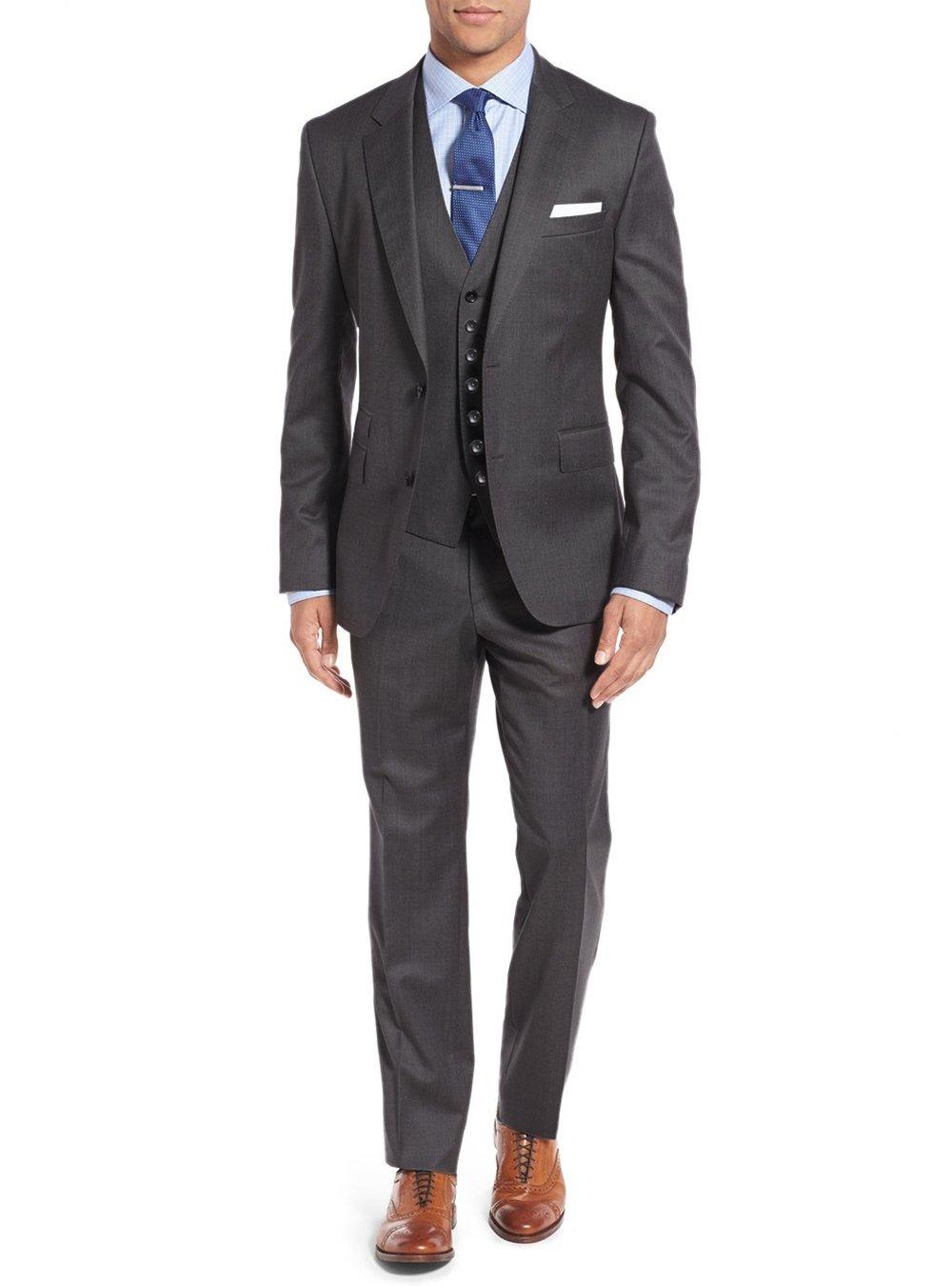 Salvatore Exte Men's Suit 3-Piece Two Button Blazer Jacket Flat Front Pants (54 Regular US / 64R EU / W 48'', Modern Fit Charcoal)