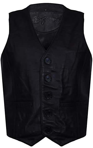 Uomo Gents marrone in pelle scamosciata 5 Bottoni Vintage Moda Party Gilet in Pelle